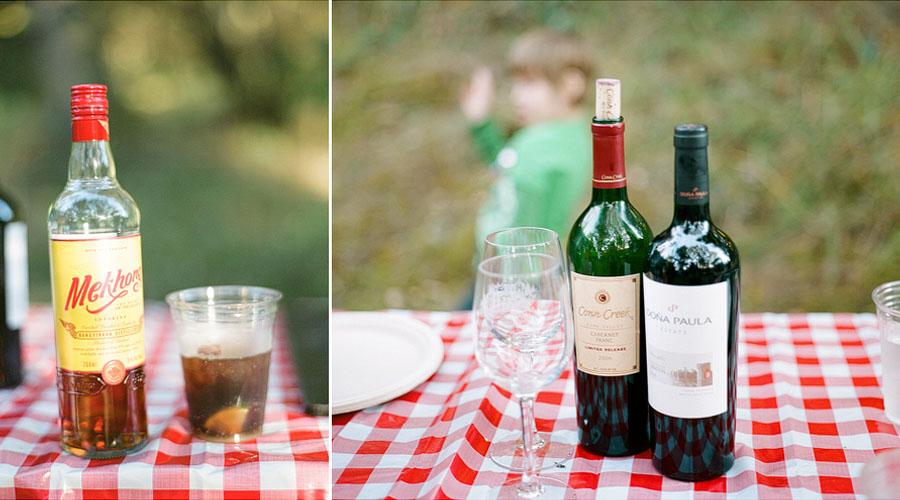 Mekhong whiskey and red wine at Lakedale Resort on San Juan Island