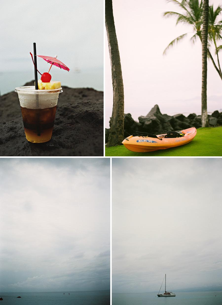 Hawaiian travel photography scenes of mai tai's, kayaks, and palm trees from the Mauna Lani Beach Club on the Big Island