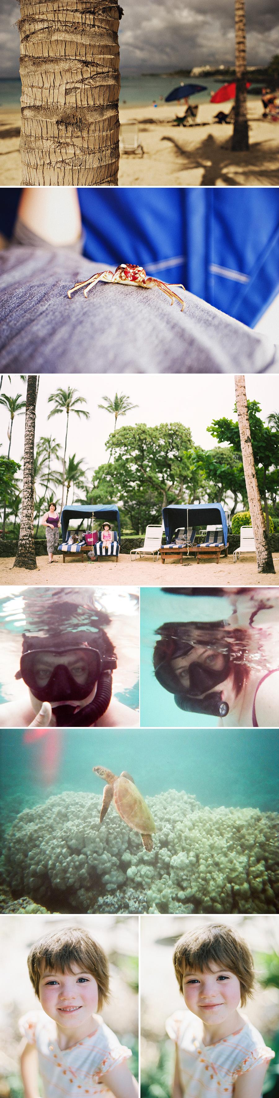 Hawaiian travel photography of beach scenes at the Mauna Lani Beach Club and Mauna Lani Bay.