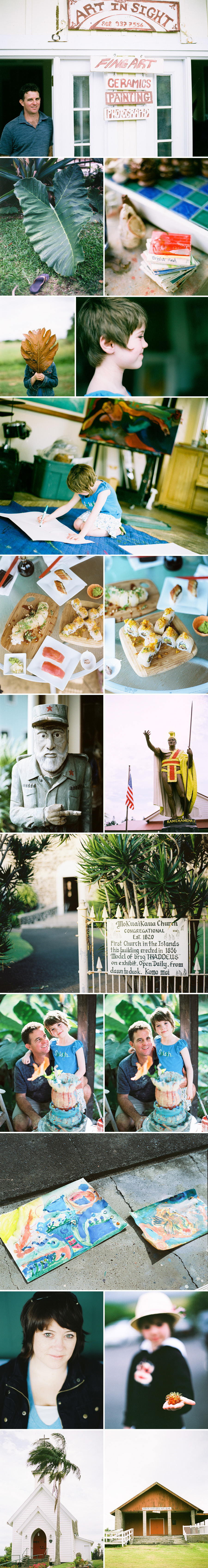 Hawaiian travel photography of artist Peter Antrim Kowalke, his Art In Sight studio, sushi from Sushi Rock in Hawi, statue of King Kamehameha and Mokuaikaua Church.